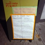 sandwich poem. I set this out frequently in the Old Town, Portland, neighborhood where I worked in a studio on my Happy Valley Project. Passersby added lines.