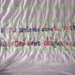 Detail from dropcloth poem. Yarn, used dropcloth, painter's tape. 2010