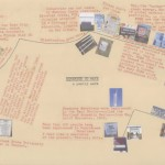 Remember to Wave map. I stitched the shape of the walk and typed and collaged details. 2008.