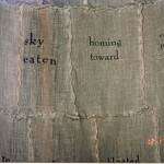 "detail from ""A Cloak of Words,"" 1998 (cotton pages run through laser printer and stitched using French seam)"