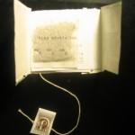 Title page typed on tea bag (dusie kollektiv 2008)