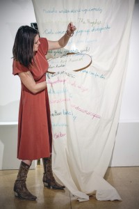I embroidered an ode-in-a-line for each person I met in the Gallery